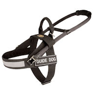 Dog Harness Nylon Black | Guide Dog Harness with Patches