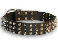 Perfect Leather Dog Collar with Spikes and Pyramids