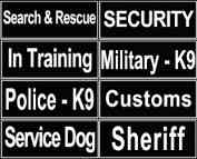 Patches for K9 Harness, Patches for Nylon Dog Harness