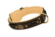 Exclusive Nappa Padded Handmade Leather Dog Collar