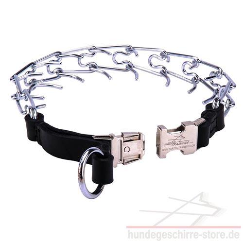 Stachelhalsband für Erziehung   Halsband aus Stahl mit Leder