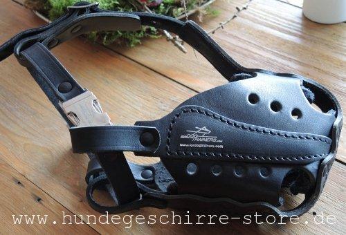 Hundemaulkorb aus Leder mit robustem Schnellverschluss aus Stahl