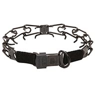 Prong collar made of black stainless steel for Training