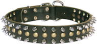 Leather Spiked and Studded dog collar 3 Rows