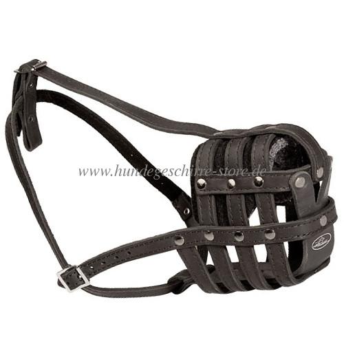 Leichter Hundemaulkorb Leder für Alltag Netzform Ledermaulkorb