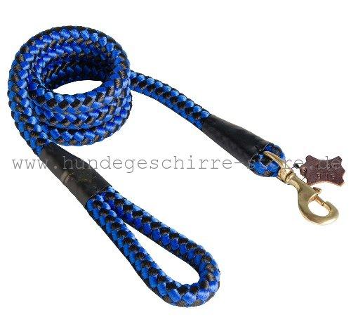 Runde Nylon Leine Blau-Schwarz für kräftige Hunde