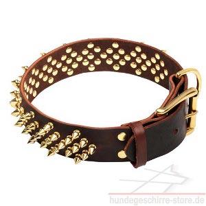 extra breites halsband mit messing spikes